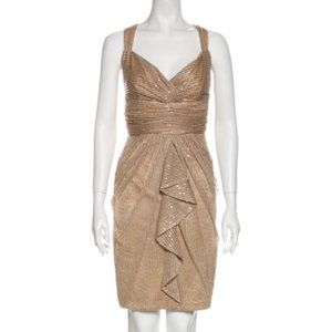 David Meister Gold Sequin Cocktail Dress 12
